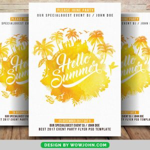 Free Watercolor Summer Flyer PSD Template
