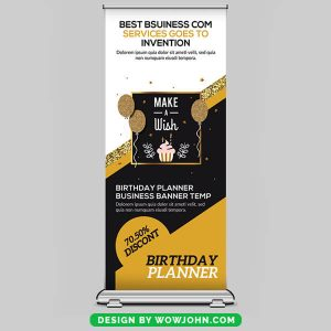 Free Birthday Planner Roll Up Banner Psd Template