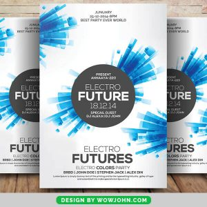Abstract Electro Future Party Flyer PSD Template