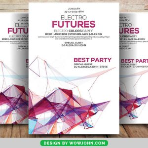 Abstract Electra Future Party Flyer PSD Template