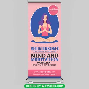 Free Yoga Classes Roll Up Banner Psd Template