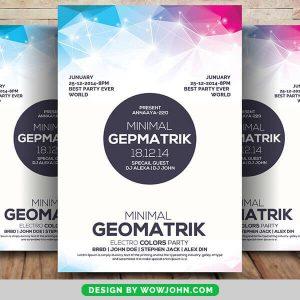 Free Geometric Sounds Flyer Psd Template