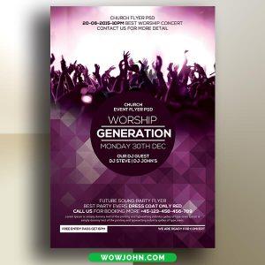 Worship Gospel Concert Flyer Template Free Psd