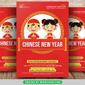 Free Chinese New Year Greeting Flyer Psd Template