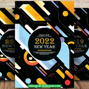 Free Abstract 2022 New Year Flyer PSD Template