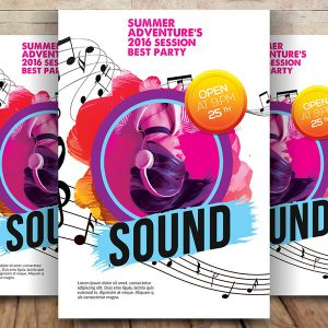 Free Music Sound Flyer Psd Template