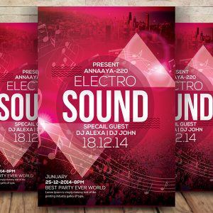 Free Electro Sound Flyer Psd Template