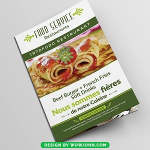 Free Seafood Restaurant Bifold Brochure Psd Template