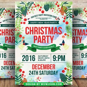 Watercolor Flower Christmas Party Psd Flyer Template