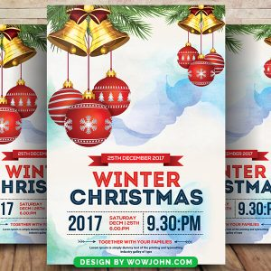 Free Watercolor Christmas Psd Flyer Template