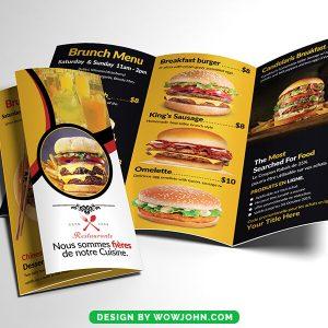 Free Fast Food Tri-Fold Restaurant Brochure Psd Template