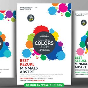 Electro Colors Music Night Psd Flyer Template