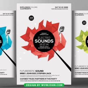 Free Electro Sounds Music Psd Flyer Template