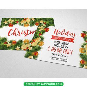 Free Flowers Christmas Postcard Psd Template