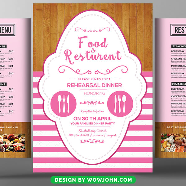 Free Cafe Restaurant Trifold Bifold Brochure Psd Template
