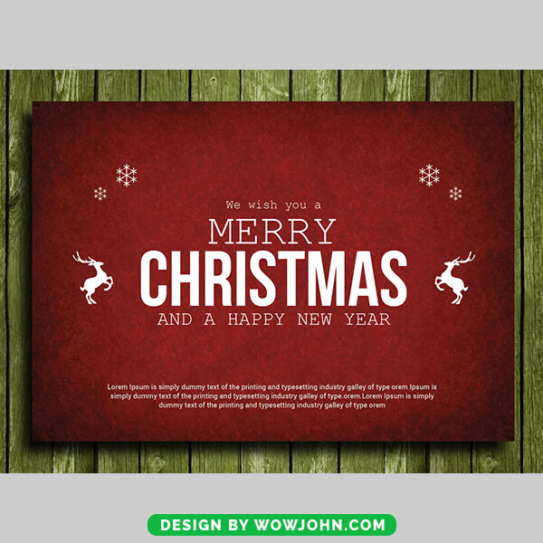Free Christmas Card With White Trees Psd Template