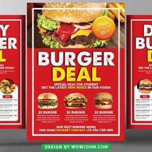 Free Burger Menu Restaurant Brochure Flyer Psd Template