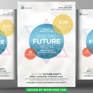 Free Tropical Electro House Party Flyer Psd Template
