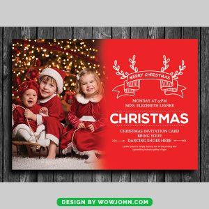 Christmas Card Invitation Template Free PSD