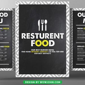 Coffee Shop Pizza Restaurant Menu Brochure Psd Template