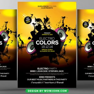Free Minimal Electro DJ Flyer and Poster Template