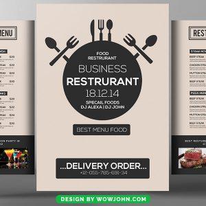 Clean Restaurant Tri Fold Bi Fold Brochure Psd Template