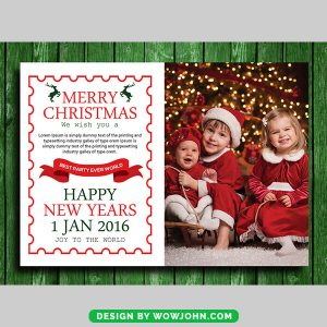 Kids Christmas And New Year's Greeting Cards Psd