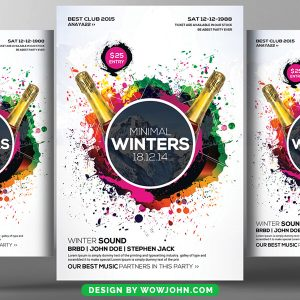 Free Minimal Winter Party Psd Flyer Template