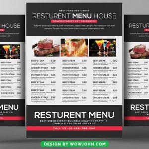 Food Catering Pizza Restaurant Bi-Fold Brochure Psd Template