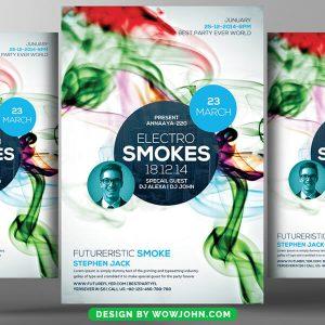 Free Electro Smoke Party Psd Flyer Template