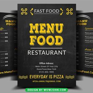 Restaurant Menu Coffee Shop Trifold Bi-Fold Psd Template