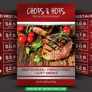 Italian Asian Restaurant Menu Bi-Fold Brochure Flyer Psd Template