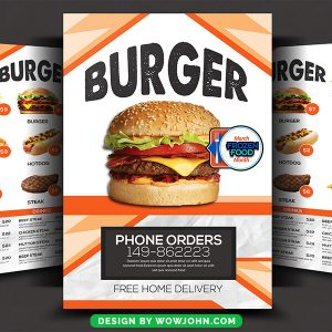 Dining Sushi Restaurant Burger Deal Menu Brochure Psd Template