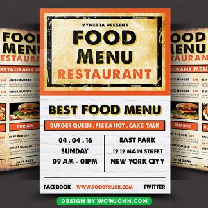 Free Food Menu Restaurant Brochure Psd Templates