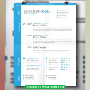 Free Simple Blue Resume CV Psd Template Download