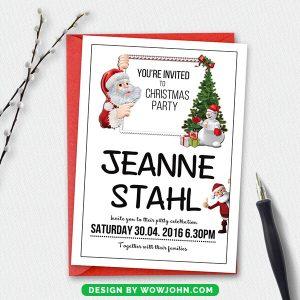 Free Merry Christmas Postcard Template PSD