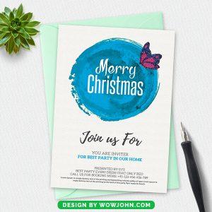 Free Printable Christmas Postcard PSD Template