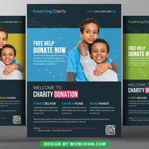 Free Kids Money Charity Donation Flyer Psd Template