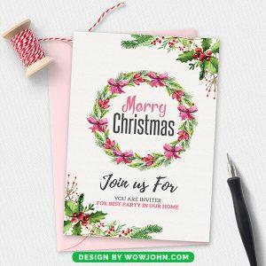 Christmas Flower Wreath Invitation Card Psd Template