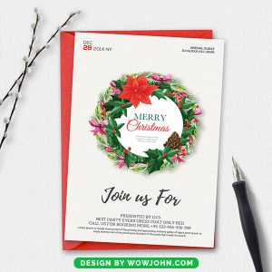 Christmas Party Invitation Card Double Sided Template