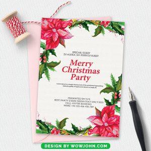 Merry Christmas Invitation Card Free Psd Template