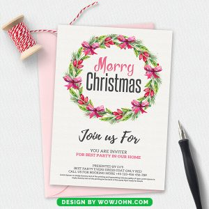 Free Cool Christmas Party Invitation Card Template