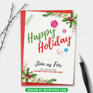 Free Eat and Drink Christmas Invitation Card Template