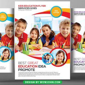 Free Kids Education Tutoring Flyer Template Psd