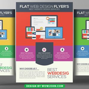 Free Flat Web Design Psd Flyer Template