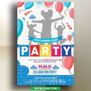 Free Kids Summer Camp Party Flyer Psd Template