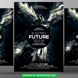 Free Black Electro Future Psd Flyer Template