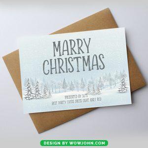 Merry Christmas Tree Printable Card Psd Download
