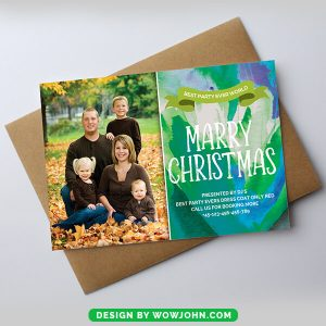 Free Christmas Photo Card Watercolor Psd Template