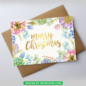 Minimalist Watercolor Photo Holiday Card Template
